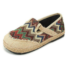 Load image into Gallery viewer, Vintage Pattern Colorful Stripe Flax National Wind Retro Slip On Flat Shoes