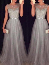 Load image into Gallery viewer, Chiffon Sleeveless Sequined Evening Wedding Dress