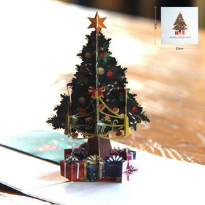 3pcs/lot 3D Pop Up Merry Christmas Paper Cards Gift Handmade Colourful Christmas Tree Greeting Cards