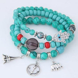 Bohemian Ethnic Style Multi-Layer Elastic Beaded Winding Bracelet