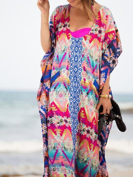Loose Printed Side Split Bikini Gown Maxi Beach Dress