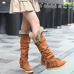 Flat high boots round fringed frosted casual snow boots large size women s boots