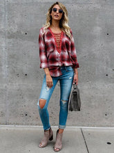 Load image into Gallery viewer, Plaid V Neck Lace Up Long Sleeve T Shirt Blouse