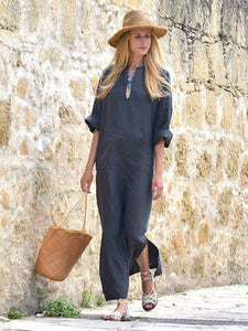 Solid Color Side Split Maxi Long Dress