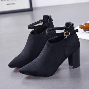 Elegant Suede Solid Color Zipper Block Heels Boots For Women
