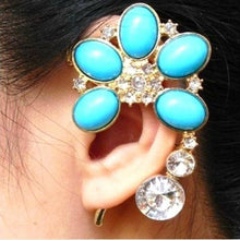 Load image into Gallery viewer, Boho Resin Crystal Flower Cuff Ear Hook Earring