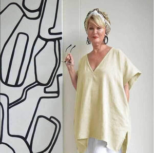 Loose V-neck Solid Color Large Size Bat Sleeve Cotton And Linen Tops Blouse