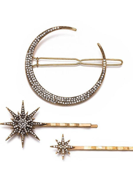 Retro geometric Artificial Diamond Headwear Moon Snow Stars Hairpin Clip Hair Accessory