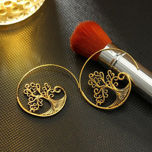 Golden Alloy Tree Of Life Crystal Earrings Jewelry