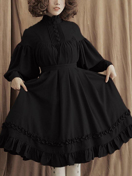 Gothic lolita Women's Long Sleeve Loose Collar Lace Lantern Sleeve Cute Small sweet lolita Dress