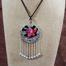 Load image into Gallery viewer, Embroidery Necklace Sweater Chain Retro Pendant