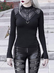 Mesh Patchwork Long Sleeve Bodycon Black Tops Women Gothic Punk Slim Turtleneck Streetwear