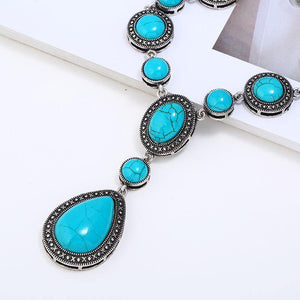 Boho Water Drop Pattern Turquoise Alloy Chain Necklace