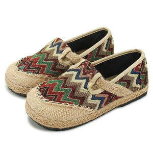 Vintage Pattern Colorful Stripe Flax National Wind Retro Slip On Flat Shoes