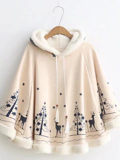 Xmas Women loose cloak type tassel lace up hoodies jackets bohemian Christmas print cape coat 2017 new