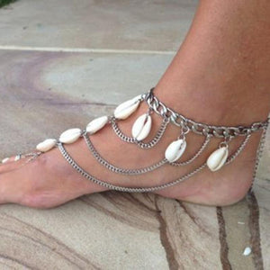 Jewelry fashion personality fringe layers of sand beach shell ankle female