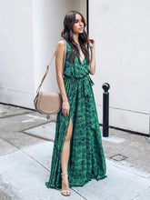 Load image into Gallery viewer, Printed Deep V Neck Sleeveless Belted Boho Maxi Long Dress