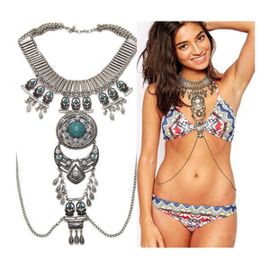 Sexy Boho Statement Turquoise Necklace Body Chains