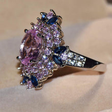 Load image into Gallery viewer, Cute Blue Pink Flower Finger Vintage Rings for Women Fashion Jewelry