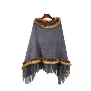 Women Artificial fur warm Pullover Cloak Shawl