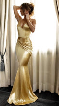 Load image into Gallery viewer, Deep V Neck Spaghetti Strap Mermaid Evening Gown Maxi Dress