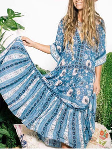Summer Retro Print Short Sleeve Maxi Dress