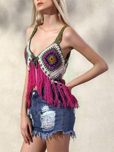 Hand-knitted Knitted Vest Hit Color Hook Flower Tassel Vest Female