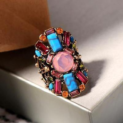 National style Three-dimensional elegant luxury multi-color ring jewelry