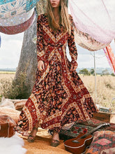 Load image into Gallery viewer, Summer Print Long Sleeve Bohemia Beach Maxi Long Dress