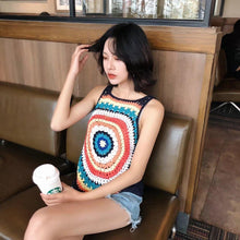 Load image into Gallery viewer, Handmade Crochet Color Vest Summer Hollow Perspective Sleeveless Vacation Top