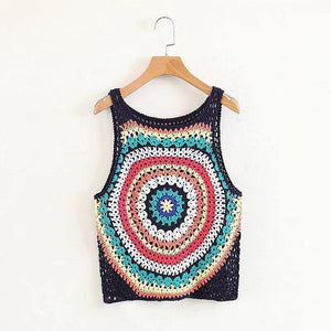 Handmade Crochet Color Vest Summer Hollow Perspective Sleeveless Vacation Top