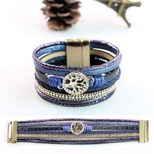 Load image into Gallery viewer, Life Tree Leather Rope Weaving Magnet Buckle Bracelet