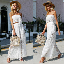 Load image into Gallery viewer, White Lace Tubes Wide Leg Pants 2 Pieces Set