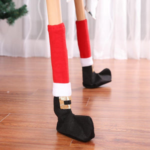 4Pcs Christmas Table Leg Covers Chair Socks Santa Feet Shoes