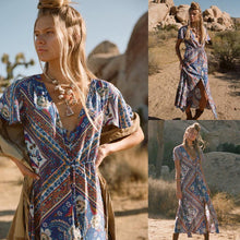 Load image into Gallery viewer, Bohemian Floral V-neck Split Beach Long Dress