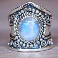 Load image into Gallery viewer, Retro Moonstone Ring Exaggerated Punk Style Jewelry