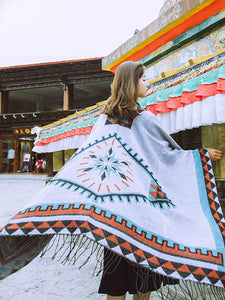 Oversized Autumn Ethnic Style Geometry Pattern Tassel Fringe Poncho Cape