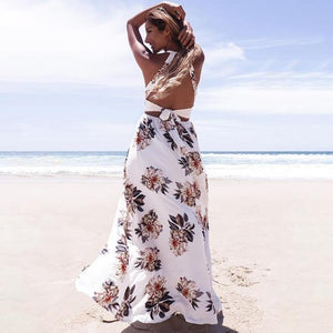 Large Flower Floral Lace-up Halter Chiffon Maxi Dress