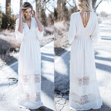 Load image into Gallery viewer, Bohemia V-Neck Stitching Lace Cover-Up Beach Dress
