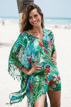 Load image into Gallery viewer, Chiffon Green Flower Loose Beach Sunscreen Cover-Up