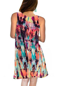 Spring / Summer Sleeveless Pullover Element Printed Pocket Swing Vest Dress-1