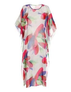 Casual Floral Printed Beach Loose Chiffon Midi Dress