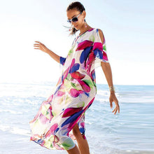 Load image into Gallery viewer, Casual Floral Printed Beach Loose Chiffon Midi Dress