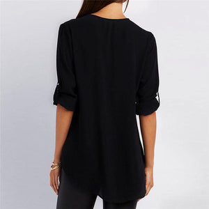 Solid Color V Neck Summer T Shirt Blouse