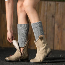 Load image into Gallery viewer, Autumn and winter knitted warm leg boots boot wool leggings rhombus line socks