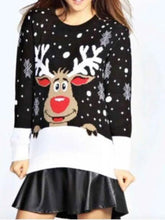 Load image into Gallery viewer, Personality printed Xmas lovely elk long sleeve Xmas free size sweater