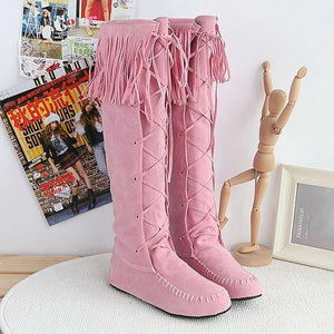 Hot sequined four seasons universal sleeve flat Fringed large yards female boots