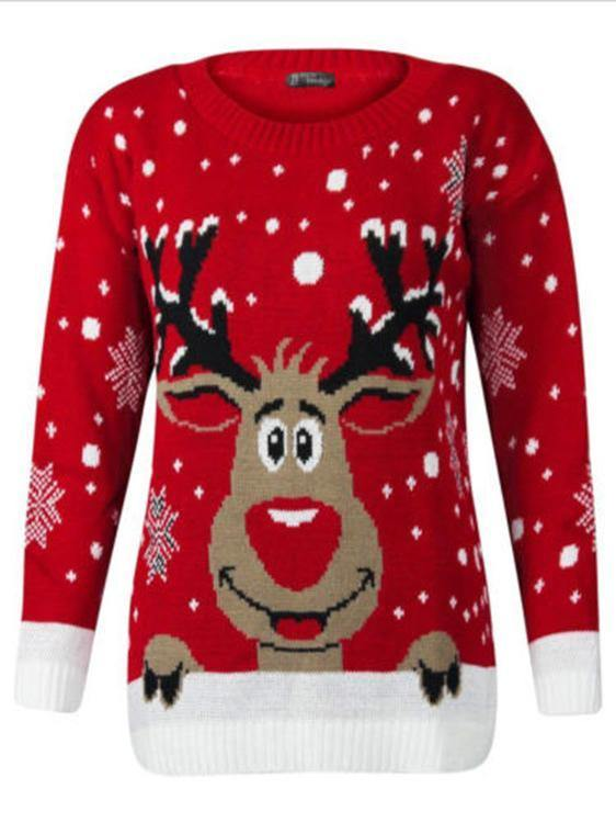 Personality printed Xmas lovely elk long sleeve Xmas free size sweater