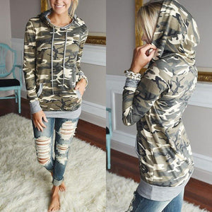 Autumn &Winter Kangaroo Pocket Long Sleeve Camouflage Print Pullover Hooded Sweatshirt