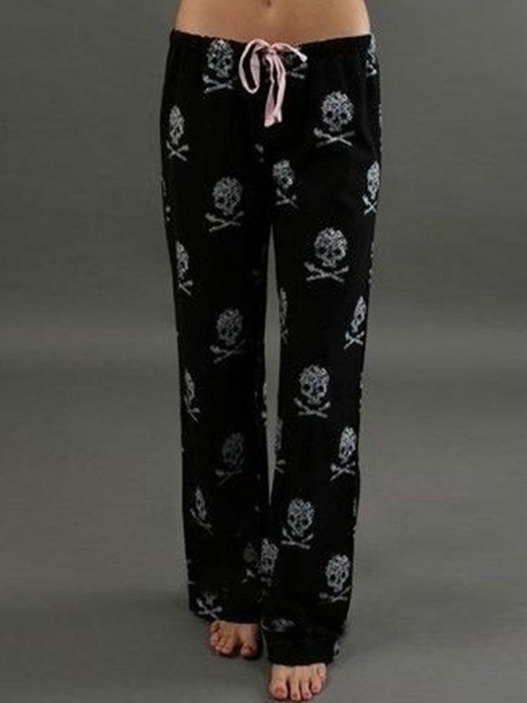 New Pants Women Lady Causal Daily High Waist  Skull Print Wide Calf Length Long Leg Pants